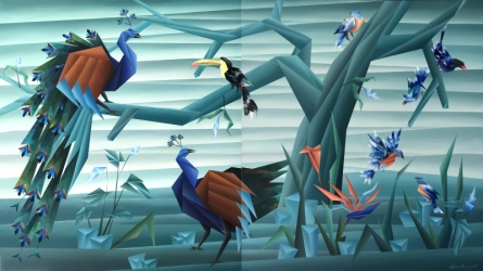Animals Acrylic Art Painting title 'Birds Paradise ( Diptych )' by artist Nirakar Chowdhury