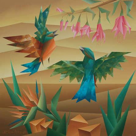 Animals Acrylic Art Painting title 'Energetic' by artist Nirakar Chowdhury