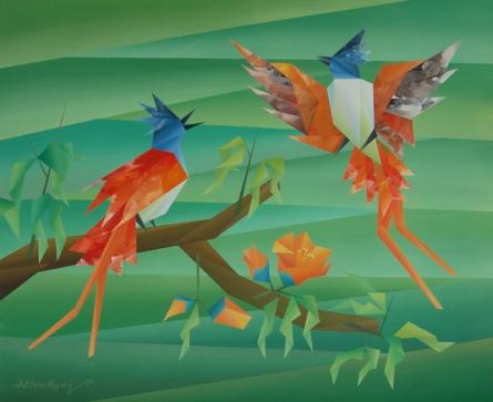 Animals Acrylic Art Painting title Similarity 5 by artist Nirakar Chowdhury