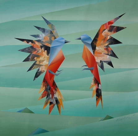 Animals Acrylic Art Painting title 'Simultaneous' by artist NIRAKAR CHOWDHURY