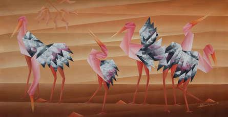 Animals Acrylic Art Painting title 'Walking Conversation' by artist Nirakar Chowdhury