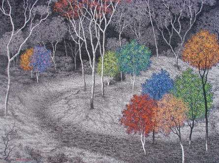Sanjay Devsale Paintings | Acrylic Painting - Landscape 3 by artist Sanjay Devsale | ArtZolo.com