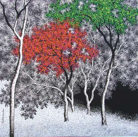 Nature Acrylic Art Painting title 'Nature 1' by artist Sanjay Devsale