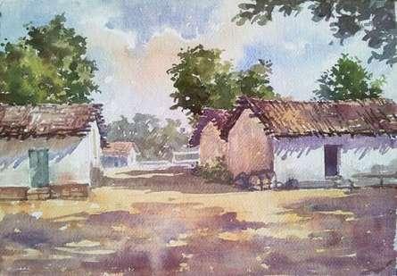Landscape Watercolor Art Painting title Village by artist Gaurishankar Behera