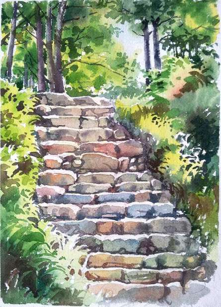 Gaurishankar Behera | Watercolor Painting title Steps on Paper | Artist Gaurishankar Behera Gallery | ArtZolo.com