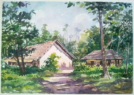 Landscape Watercolor Art Painting title Hut by artist Gaurishankar Behera