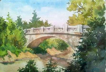 The bridge | Painting by artist Gaurishankar Behera | watercolor | Paper