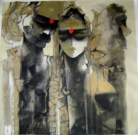 Figurative Mixed-media Art Painting title 'Untitled' by artist Sachin Jaltare