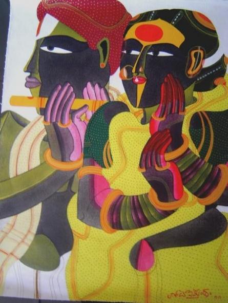 Thota Vaikuntam | Mixed-media Painting title Untitled on Canvas | Artist Thota Vaikuntam Gallery | ArtZolo.com