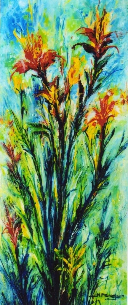 NP Pandey | Acrylic Painting title Floral 3 on Canvas | Artist NP Pandey Gallery | ArtZolo.com