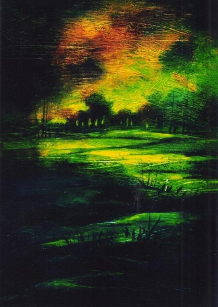 NP Pandey | Acrylic Painting title Moonlit Evening on Canvas | Artist NP Pandey Gallery | ArtZolo.com