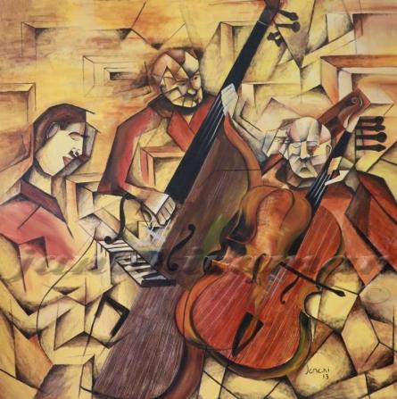 Ensemble Of Musicians - 60x60 Inch | Painting by artist Janakiraman B | acrylic | Canvas