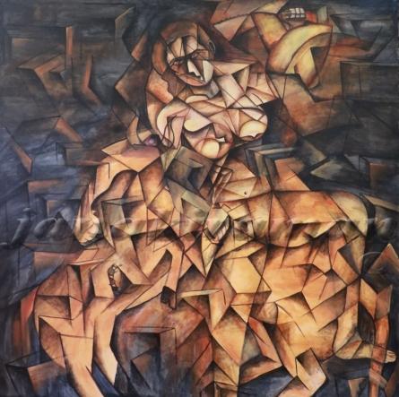 Mahishasura Mardhani  | Painting by artist Janakiraman B | acrylic | Canvas