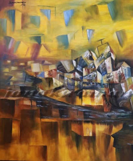 Old Boats Oil On Canvas 38x38 Inch | Painting by artist Janakiraman B | oil | Canvas