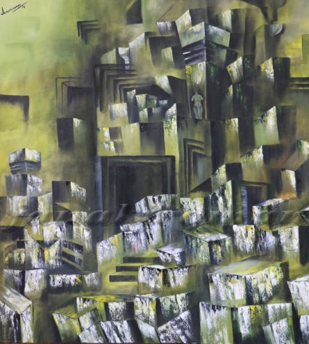 Ruined Temple Oil On Canvas 48x48 Inch | Painting by artist Janakiraman B | oil | Canvas