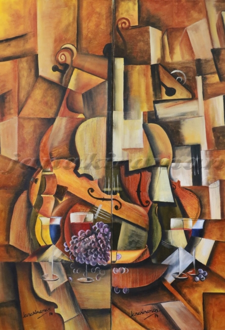 Violin And The Wine    Painting by artist Janakiraman B   oil   Canvas