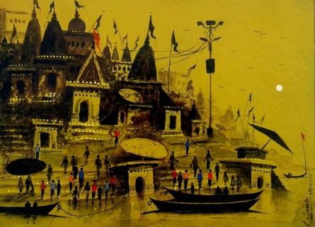 BANARAS | Painting by artist GIRISH CHANDRA VIDYARATNA | acrylic | Paper