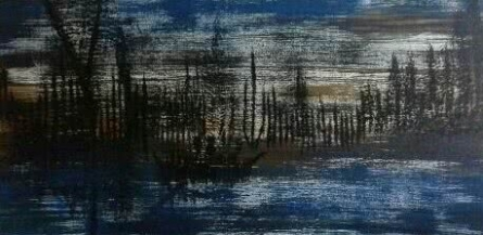 Boat In The Forest  | Painting by artist Rashmi Pitre | acrylic | Canvas