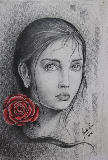 Innocence untamed | Painting by artist Amrita Sen | charcoal | Paper