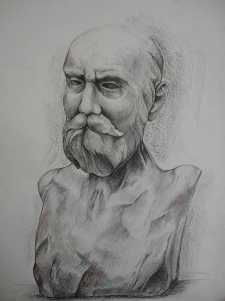 A Scholar | Painting by artist Amrita Sen | charcoal | Paper