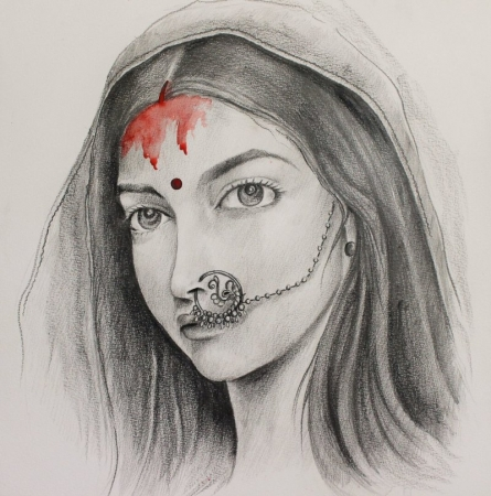 Bleeding Red | Painting by artist Amrita Sen | charcoal | Paper