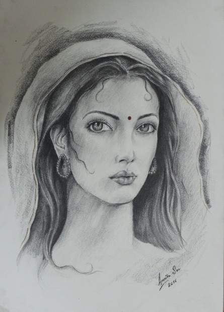 Her Gaze | Painting by artist Amrita Sen | charcoal | Paper