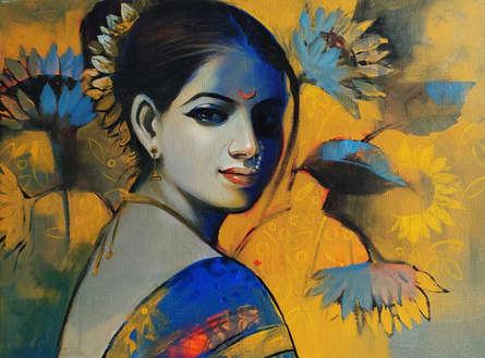 Figurative Acrylic Art Painting title 'Beauty' by artist Sanjay Lokhande