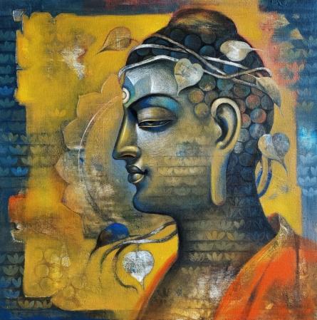Religious Acrylic Art Painting title 'Buddha 8' by artist Sanjay Lokhande