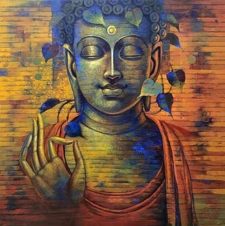 Religious Acrylic Art Painting title 'Buddha 9' by artist Sanjay Lokhande