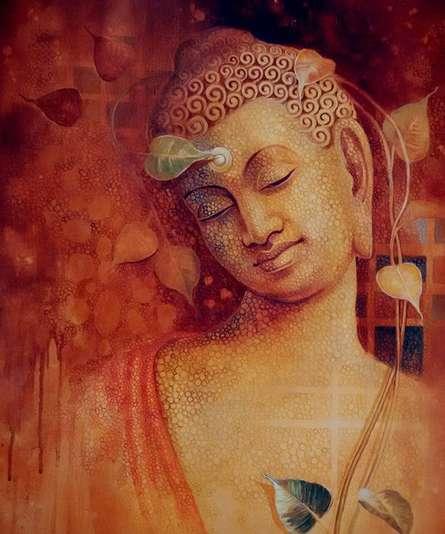 Figurative Acrylic Art Painting title Buddha Bhavana by artist Sanjay Lokhande