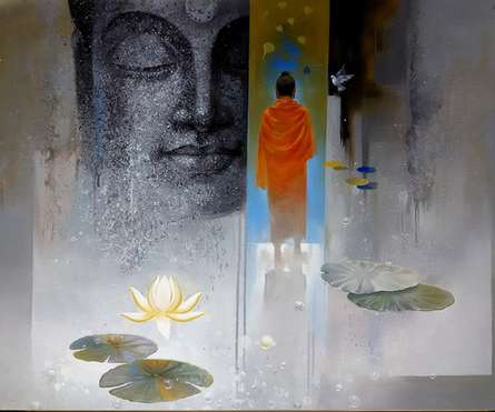 Figurative Acrylic Art Painting title Buddha Breathing by artist Sanjay Lokhande
