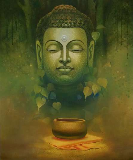 Figurative Acrylic Art Painting title 'Buddha Dhyana' by artist Sanjay Lokhande