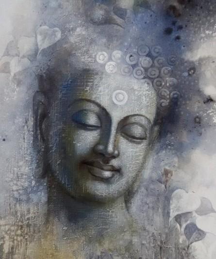 Figurative Acrylic Art Painting title 'Buddha Mindfulness' by artist Sanjay Lokhande