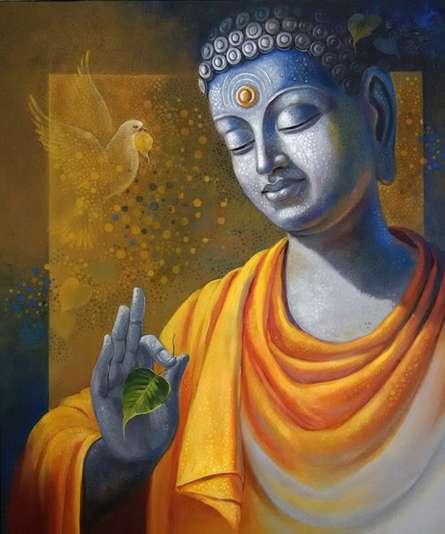 Figurative Acrylic Art Painting title 'Budhha Wisdom' by artist Sanjay Lokhande