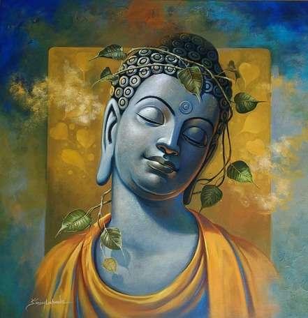 Religious Acrylic Art Painting title Gautama Buddha by artist Sanjay Lokhande