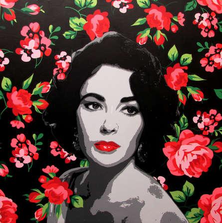 Figurative Acrylic Art Painting title Elizabeth Taylor by artist Sujit Karmakar