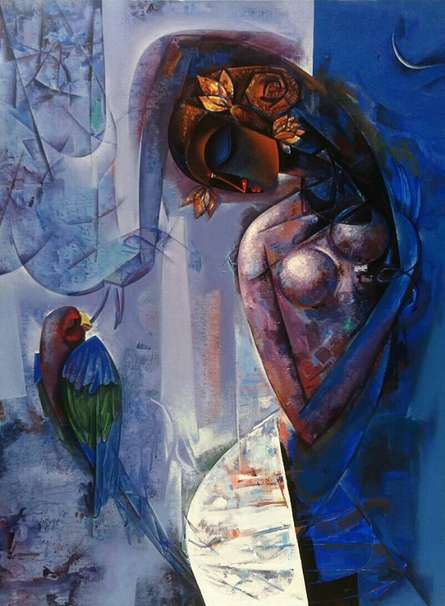 Beauty with Macaw | Painting by artist Vishal Phasale | acrylic | Canvas
