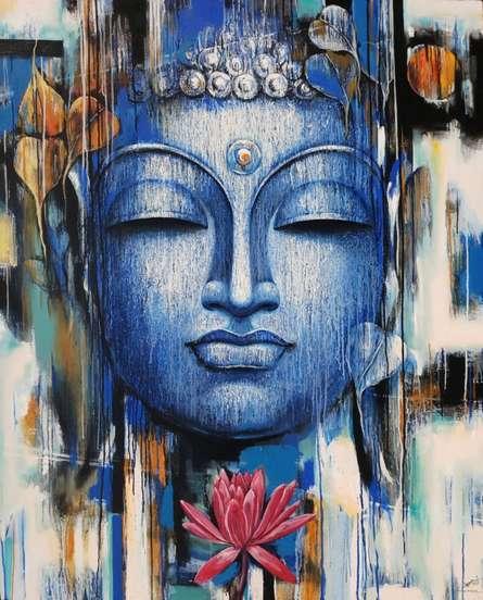 Vishal Phasale | Acrylic Painting title Gautama Buddha on Canvas | Artist Vishal Phasale Gallery | ArtZolo.com
