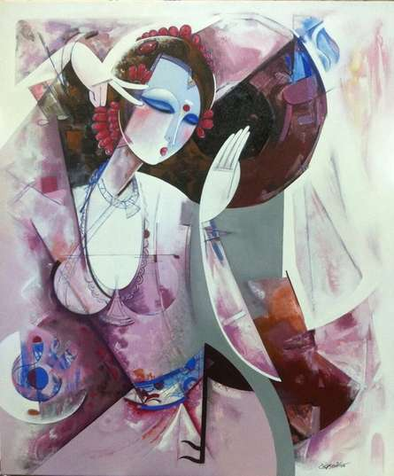 Figurative Acrylic Art Painting title 'Nrutyachandrika 59' by artist Vishal Phasale