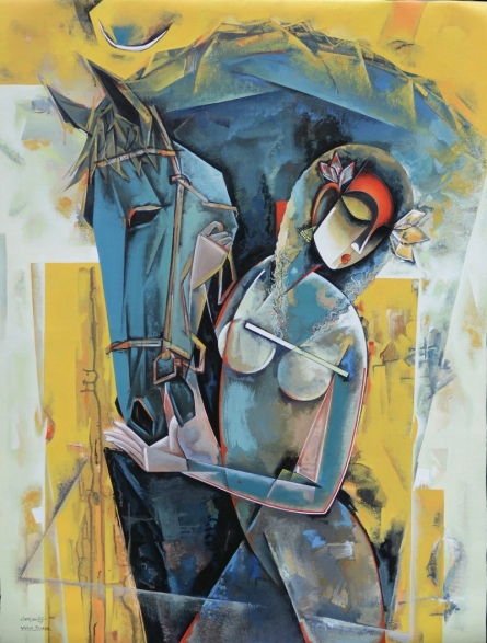 Figurative Acrylic Art Painting title 'Untitled' by artist Vishal Phasale