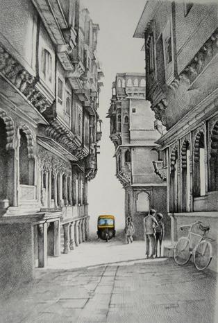 Auto | Painting by artist Milind Varangaonkar | mixed-media | Paper