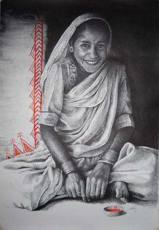 Indian Woman | Painting by artist Milind Varangaonkar | mixed-media | Paper