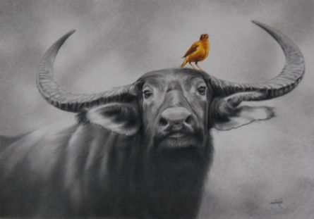Animals Mixed-media Art Painting title 'Untitled' by artist Milind Varangaonkar