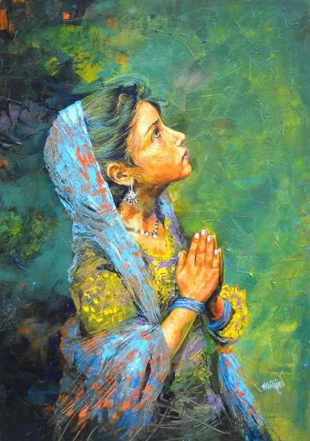 Figurative Acrylic Art Painting title Aastha by artist Milind Varangaonkar