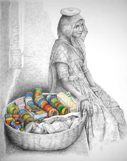 Fate | Painting by artist Milind Varangaonkar | mixed-media | Paper