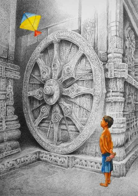 Figurative Mixed-media Art Painting title Kite by artist Milind Varangaonkar