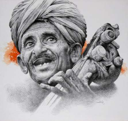 Figurative Mixed-media Art Painting title 'Folk Singer' by artist Milind Varangaonkar