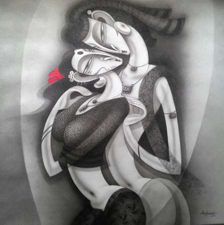 Figurative Acrylic Art Painting title 'Love II' by artist Ramesh Pachpande