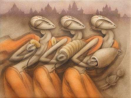 Figurative Acrylic Art Painting title 'Bhajan' by artist Ramesh Pachpande