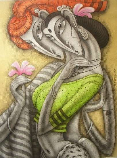 Ramesh Pachpande Paintings | Acrylic Painting - Lovely Couple by artist Ramesh Pachpande | ArtZolo.com